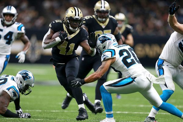 Alvin Kamara #41 of the New Orleans Saints runs the ball against the Carolina Panthers during the second half of a NFL game at the Mercedes-Benz Superdome on December 3, 2017 in New Orleans, Louisiana. The New Orleans Saints won the game 31 - 21.