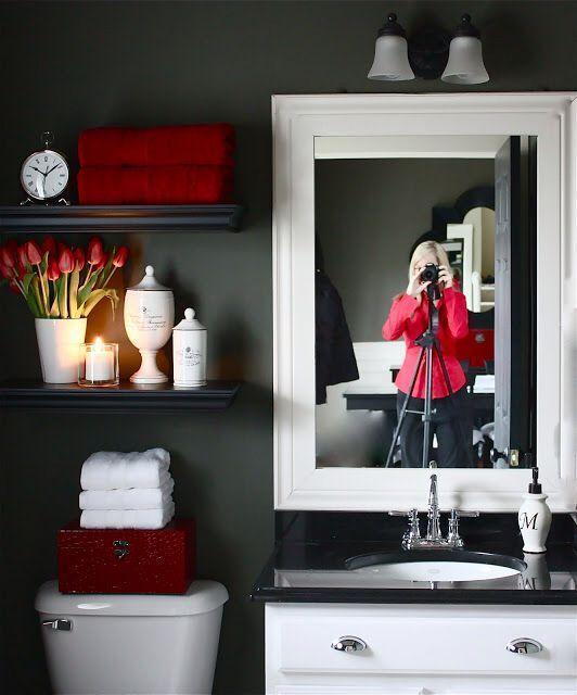 Love open shelves above toilet – 70 Fenway Bathroom – #bathroom #Fenway #Love …..   – Home styling red & black