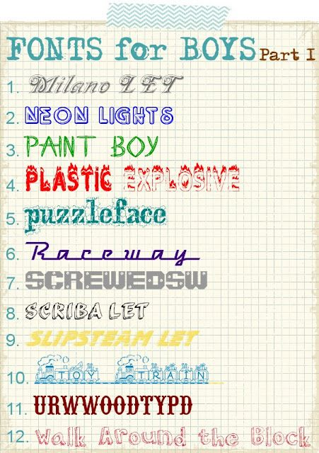 Fonts for boys - part 1 of 4!