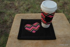Feature Friday: Most ClickedEtsy/Business Link: Lonestar Lovelies Mug Rug & Coffee Cozy Combo ~ Chevron Hearts. The chevron pattern is so popular these days! What a fun gift idea for any coffee drinker.
