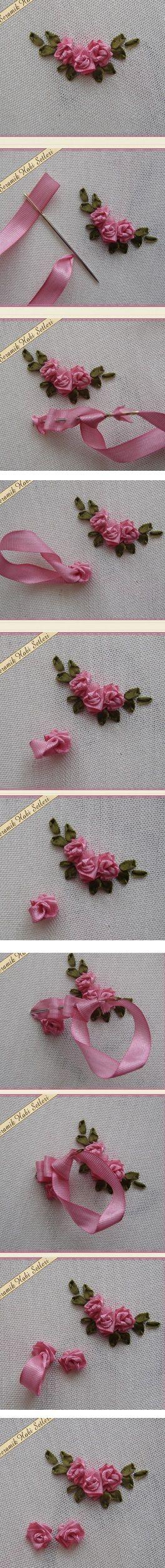Sweet ribbonwork Rosebud clusters.