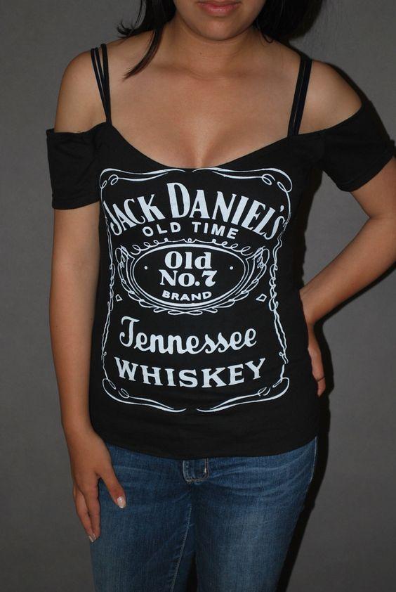 Detalles acerca de DIY Jack Daniels Top Shirt Whiskey Bar Rocker Chick Glam Rock XS-XL