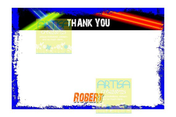 Laser Tag Birthday Printable Thank You Card   by artisacreations