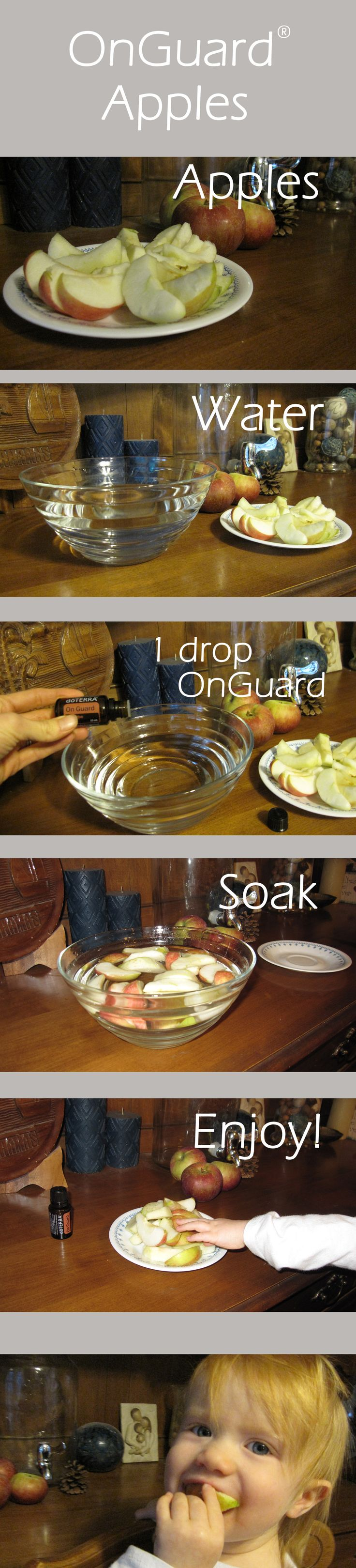 Modify: peel apples, soak in water with 2 drops lemon essential oil & 2 drops doTerra On Guard essential oil. Magnificent!