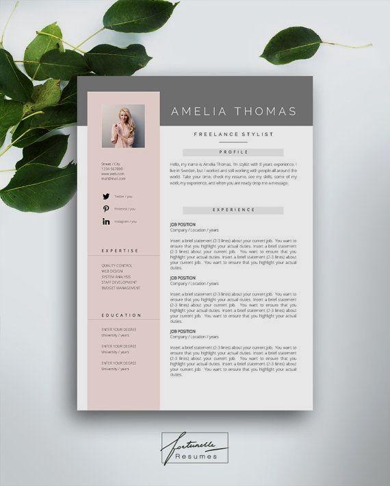 Resume Template 3 Page Cv Template Cover Letter Instant Download For Ms Word Amelia Modele Cv Cv Lettre De Motivation Modelisme