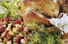 Stekta kycklinglår med het grönsaksmix