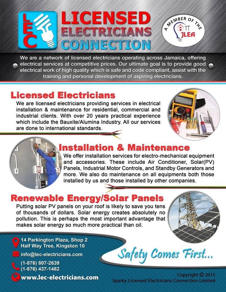Sparky Licensed Electricians Connection Limited Is A Network Of Operating Across Jamaica