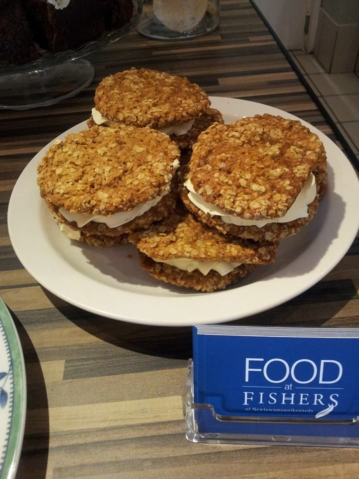 New on the menu today, these giant oat biscuit sandwiches filled with vanilla butter cream! You're welcome in advance!