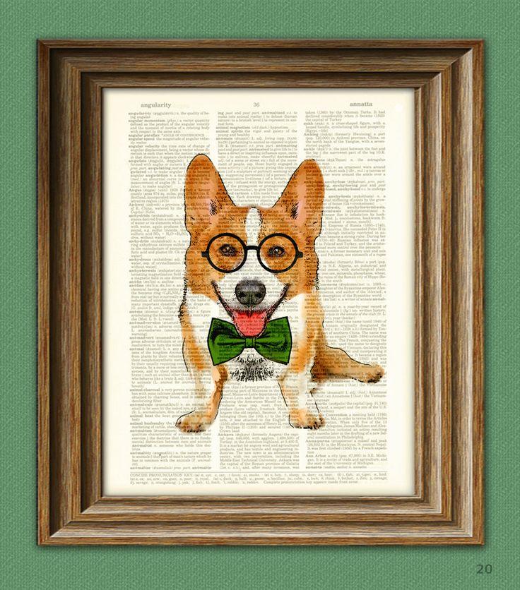 Poindexter the Teacher's Pet Corgi with glasses and bow tie Corgi dog original art vintage dictionary page book art print., via Etsy.