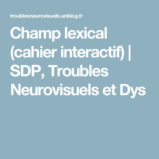Champ lexical (cahier interactif)  |   SDP, Troubles Neurovisuels et Dys