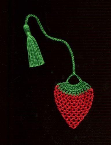Handmade Crochet Strawberry Bookmark