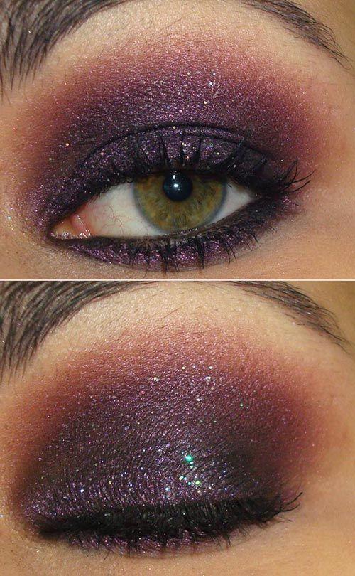 Tutorial: http://www.pausaparafeminices.com/tutorial-make/tutorial-make-roxo-com-glitter-furta-cor/