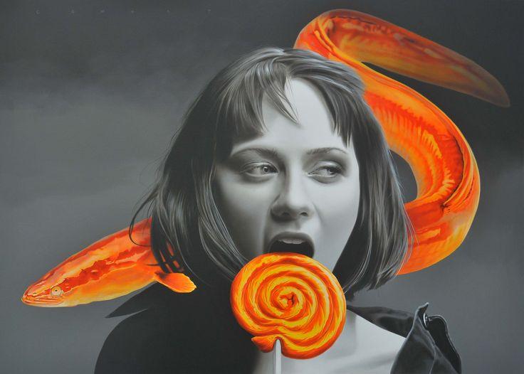 Cömert Doğru ''Eels Are Like Candy'' 130x180cm / Acrylic on canvas / 2014