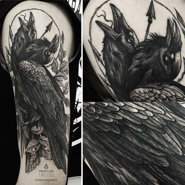 23 Raven Tattoo Designs Ideas: Two Head Raven Tattoo On The Arm