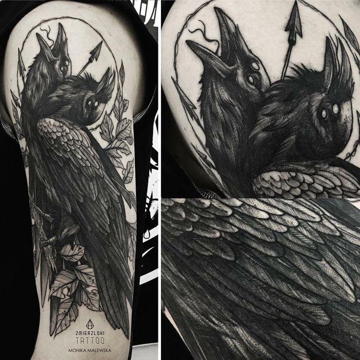 Two head raven tattoo on the arm