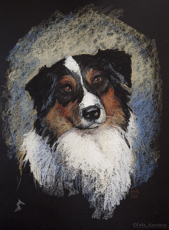 """A portrait of a dog"" Materials: paper, pastel"