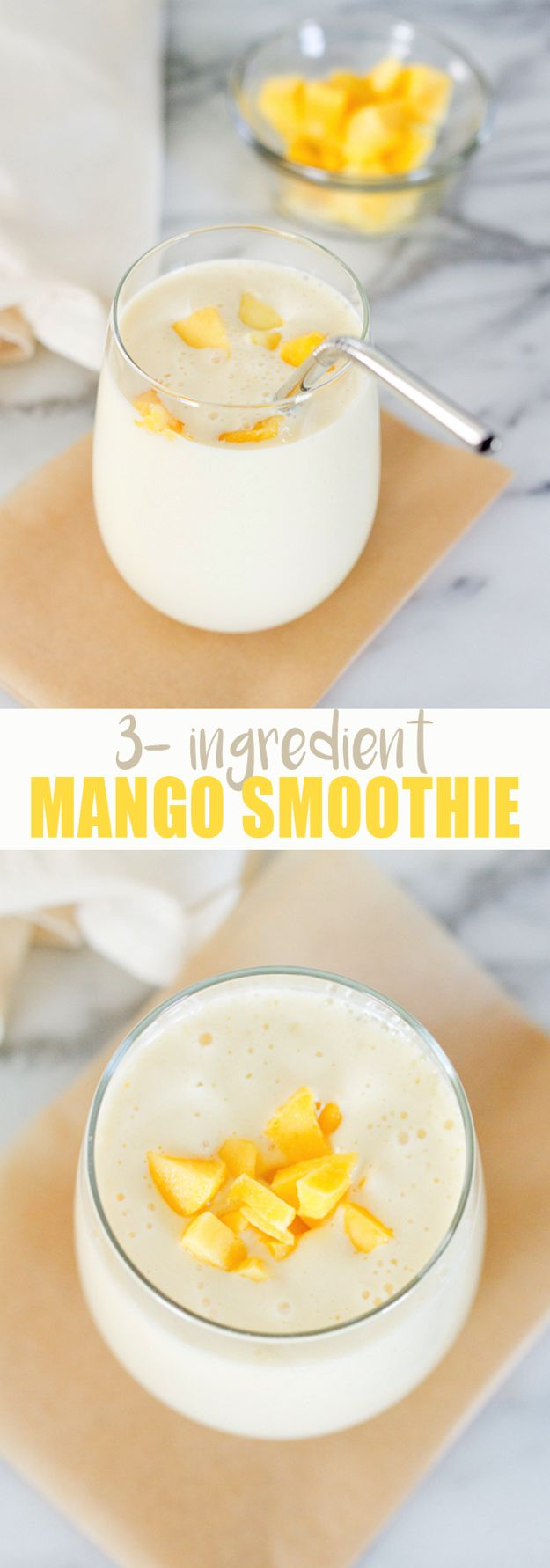 3-Ingredient Mango Smoothie // Similar to a mango lassi with protein-packed Greek yogurt, almond milk and frozen mango