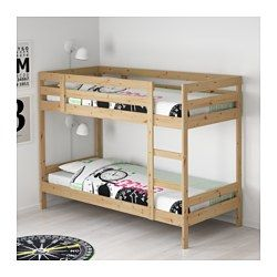 IKEA - MYDAL, Bunk bed frame, , The ladder can mount on the left or right side of the bed.Made of solid wood, which is a durable and warm natural material.A good solution where space is limited.
