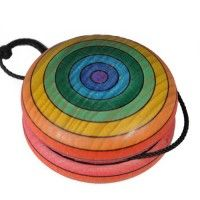 Rainbow Wooden Yo-Yo made in Austria. www.bellalunatoys.comWooden Yo Yo, Rainbows Wooden, Classic Wooden, Wooden Yoyo, Wooden Toys, Rainbows Yo Yo, Austria, Rainbows Yoyo