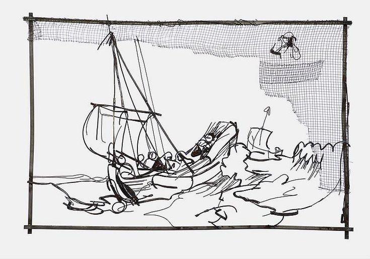 «Христос во время шторма на море Галилейском; в верхнем правом углу бюст испуганного апостола», 2009год