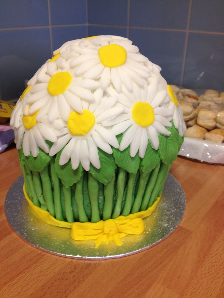 Macmillan Coffee morning Bunch of Daisies Giant cupcake