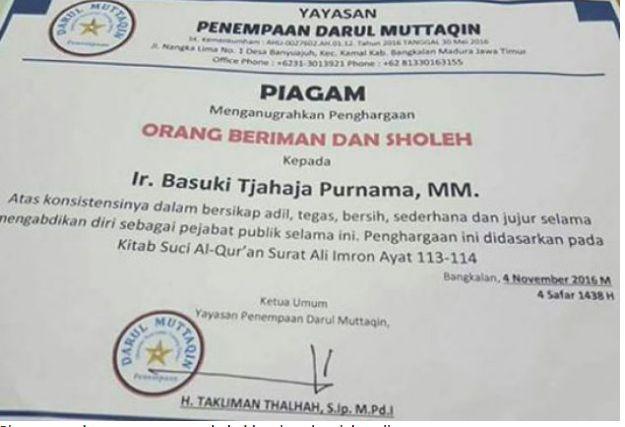 """Yayasan Pemberi Penghargaan """"Orang Sholeh"""" pada Ahok ternyata Fiktif"""
