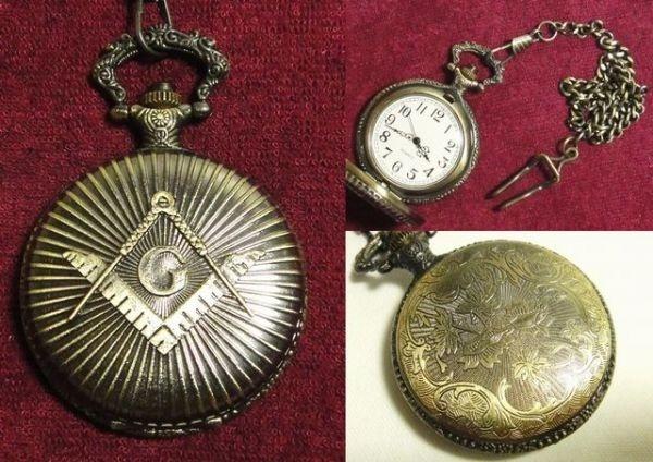 Pocket Watch 1円 フリーメイソン懐中時計 アンティーク秘密結社双頭鷲KKK Antique ¥1yen 〆05月16日