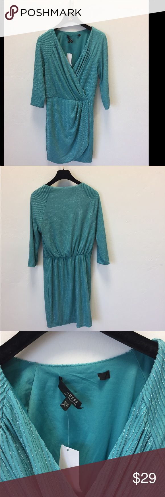 Guess mint green silver mini dress size small new Guess mint green silver mini dress size small new without tags ...so cute on Guess Dresses Mini
