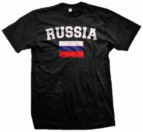 Russia World Cup Soccer Distressed Flag Olympics Mens Black T-Shirt  #NA #GraphicTee