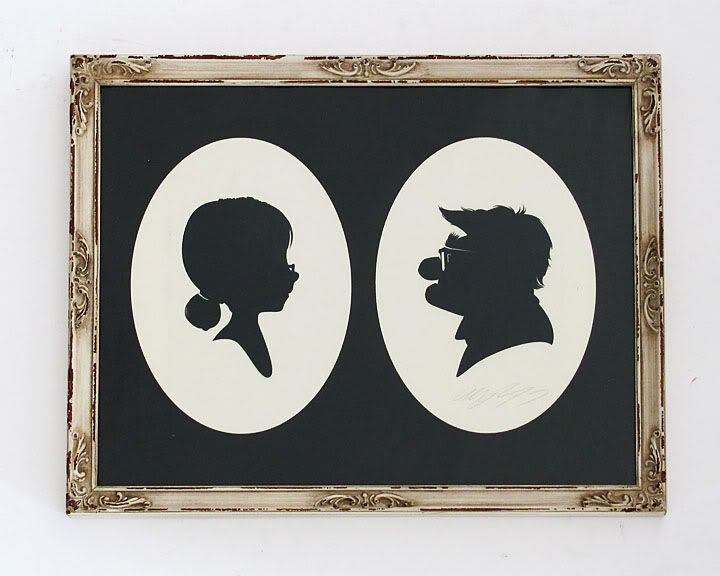 silhouette cameo-style of the characters of Pixar's UP