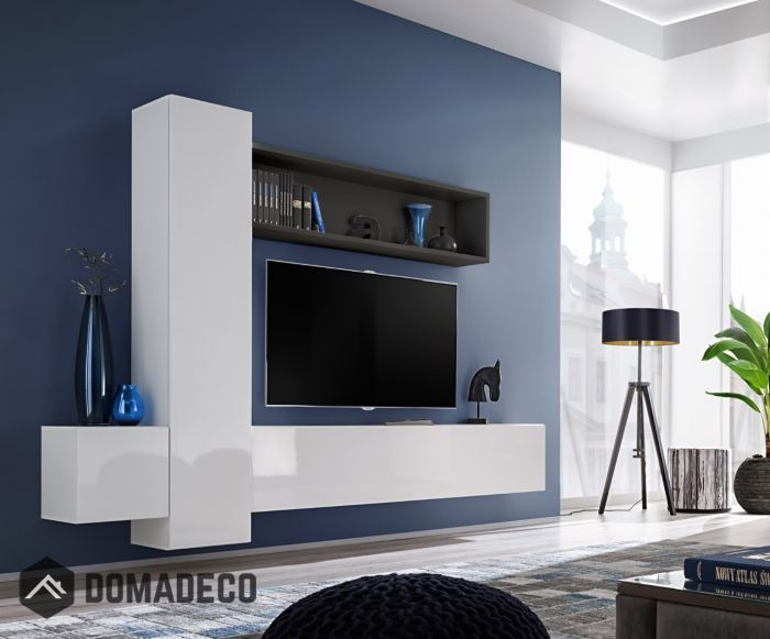 Low Walnut Tv Unit With 2 White Wall Cabinets And Display Areas Living Room Tv Wall Living Room Tv Trendy Living Rooms