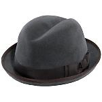 This fur felt homburg is more art for head from Makins of New York. A smooth velour finish with grosgrain trim and piped edging completes this stingy brim dress hat quite nicely. Made in NYC. Item Number: MF1250