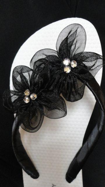 Black /White Bridal Flip Flops - Flat