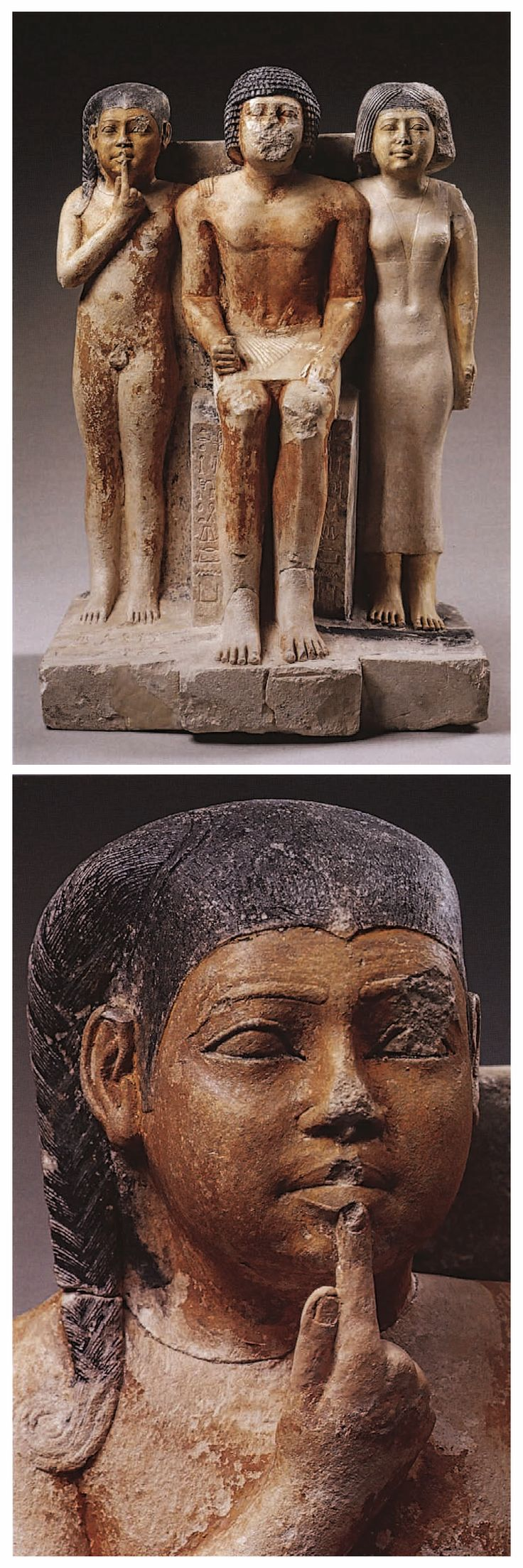 NI-KA-RE, HIS WIFE, AND THEIR SON - Fifth Dynasty, reign of Niuserre or later - Painted limestone H. 57·5 cm - PROVENAN CE : Probably Saqqara, south of precinct of Djoser - Brooklyn Museum of Art