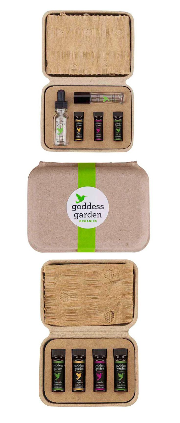 Goddess Garden's new Organic Essential Oils. Packaged with custom inserts and molded pulp clamshells by Sustainable Packaging Industries. Discover your scent personality!