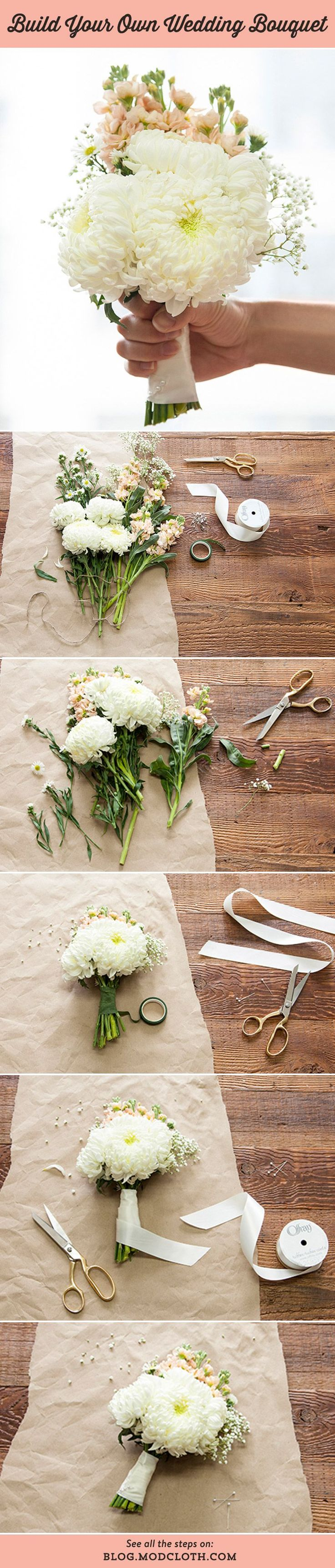 Build your own wedding bouquet with this easy #DIY! THE HOW TO,  NOT EXACTLY THE LOOK SHE WANTS
