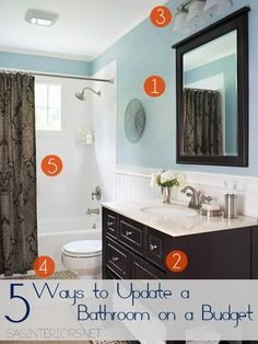 5 Ways to Upgrade a Bathroom on a Budget: Don't neglect a needed bathroom revamp because of cost + no-experience. Instead, embrace what you...