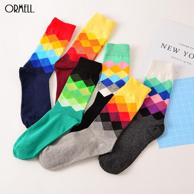 2016 6 Colors Socks British Style Faded Diamond Socks Brand Colourful Long Cotton Wholesale Sock #Affiliate