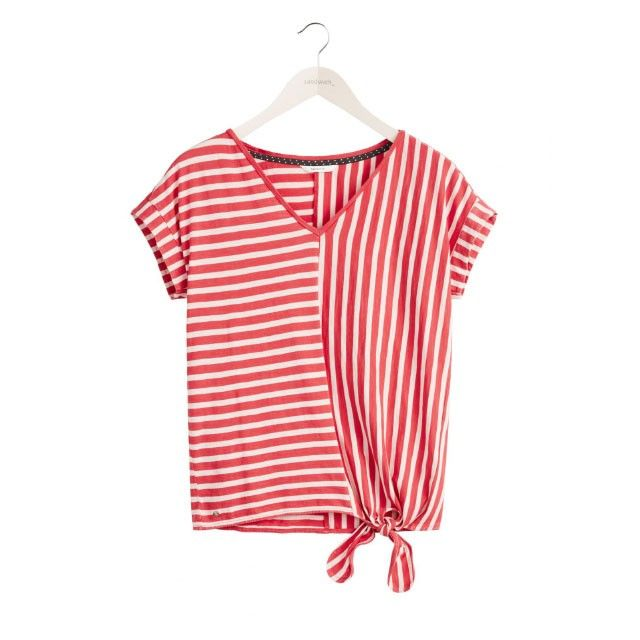 Sandwich Clothing Striped Tie Hem Top Red