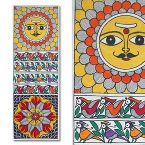 Madhubani painting featuring the sun lord and fishes.