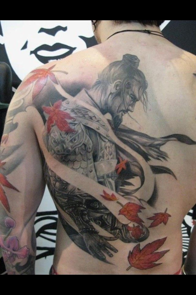 Great nice samurai tattoo on back