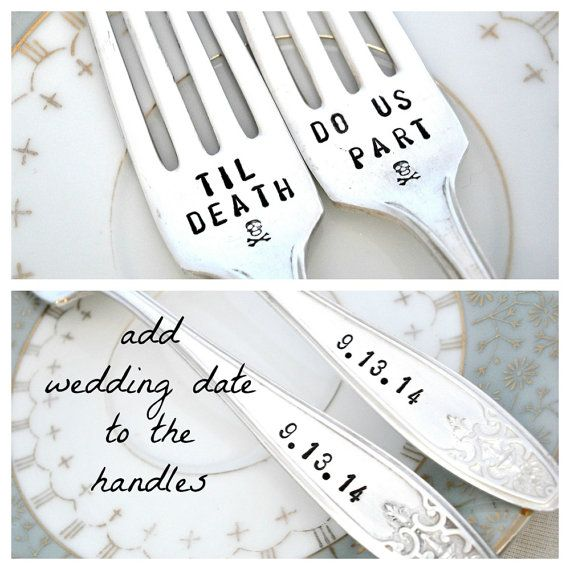 Hey, I found this really awesome Etsy listing at https://www.etsy.com/listing/201931600/til-death-do-us-part-forks-set-of-2