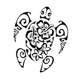Polynesian Flowers turtle tattoo
