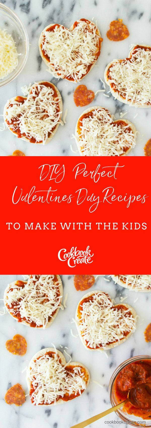These heart shaped pizzas are so much fun to make with your little ones. Check out this kid friendly DIY for an extra special Valentine's Day. | Create your personalized cookbook with your recipes and photos at www.CookbookCreate.com