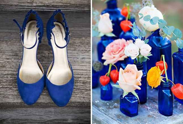 How to Use Pantone's 10 Fall Colors in Your Autumn Wedding via Brit + Co. Royal Blue: In need of something blue? How about a pair of eccentric heels for a hidden pop of color! Be warned though, if used too much, this rich color can be a tad overpowering. We like it blended with other colors like these floral vases or used as an accent. (via 100 Layer Cake and Invites Wedding)