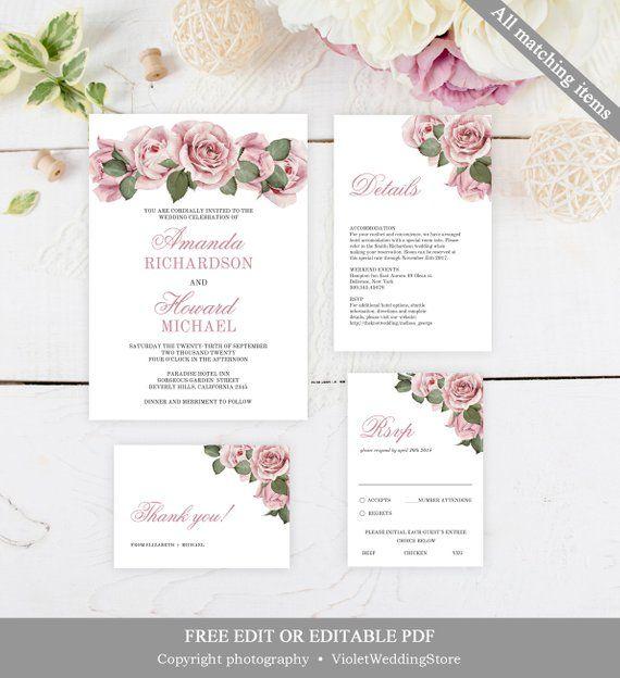 Dusty Pink Roses Wedding Invitation Set Template Printable Blush Pink Floral Weddi Rose Wedding Invitations Fine Wedding Invitations Floral Wedding Invitations