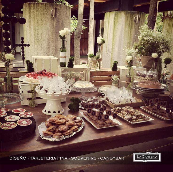 Decoracion y montaje mesa de postres en tonos blanco - Decoracion rustico vintage ...