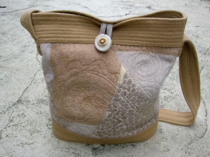 Purses by Lydia: Camel Crazy Quilt Bucket Bag    14x14, 175usd