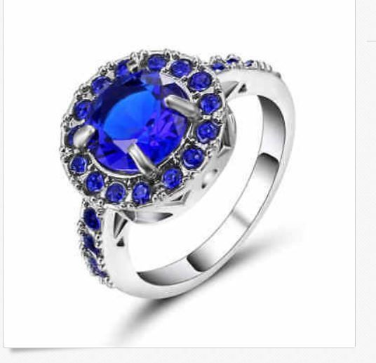 Fine Fashion Jewelry Blue Sapphire Size:6 Women's Ring 18K white Gold Filled  #FashionJewelry #largestoneamethyst
