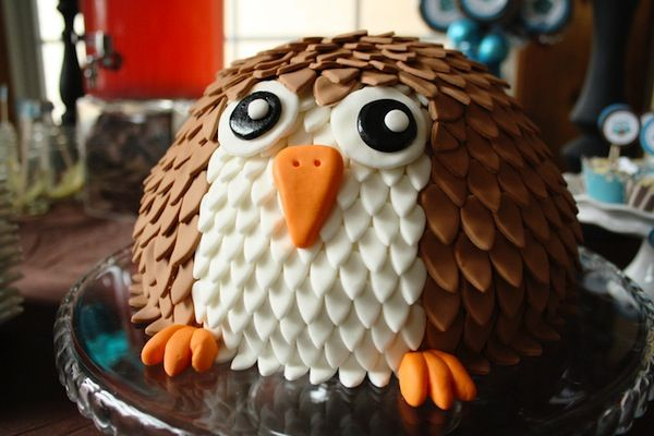 {Brown + Blue} Owl Themed Baby Shower Cake